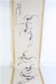 Sale 8909S - Lot 631 - Chinese Scroll featuring shrimps, L 177cm