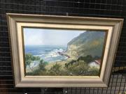 Sale 8981 - Lot 2030 - F Fox, The Beach, oil on board, 35 x 39 x 3 cm, signed lower right