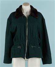 Sale 9071F - Lot 58 - A STONE VALLEY GREEN WOOL JACKET; with black collar and gathering to waist comprising two pockets & zip up front size M