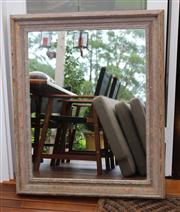 Sale 7379B - Lot 49 - Rectangular mirror with rustic timber frame 72 x 92cm