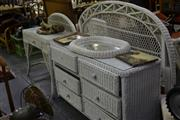 Sale 8013 - Lot 1115 - Large Wicker Bedroom Setting inc Bed, Sideboard Chest of Drawers, Bedside, Trunk, etc