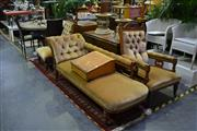 Sale 8039 - Lot 1017 - Pair of Upholstered Timber Button Back Armchairs on Castors (1x A/F) & Chaise Lounge on Castors