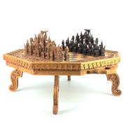 Sale 8273 - Lot 1 - Balinese Carved Timber Chess Set with Board