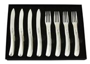 Sale 8340B - Lot 92 - Laguiole by Louis Thiers Organique 8-piece Steak Knife & Fork Set In Polished Finish RRP $250