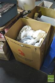 Sale 8407T - Lot 2466 - 2 Boxes of Sundries incl. Curtains, Microwave, Juicer, & Heater