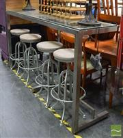 Sale 8418 - Lot 1021 - Stainless Steel Glass Top Bar Table (H 111 x L 200 x W 50cm)