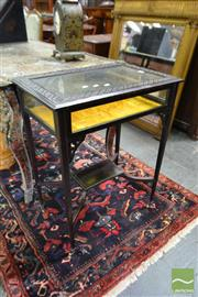 Sale 8500 - Lot 1042 - Late Victorian Mahogany Vitrine Table, with blind fretwork top & gold velvet interior, on tapering legs joined by a small shelf