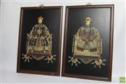 Sale 8581 - Lot 3 - A Pair of Chinese Inlaid Family Portrait Panels in Court Costumes