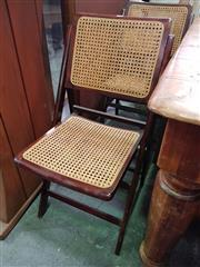 Sale 8672 - Lot 1046 - Pair Timber & Wicker Folding Chairs