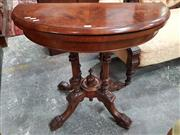 Sale 8831 - Lot 1052 - Victorian Walnut and Inlaid Demilune Fold Over Card Table