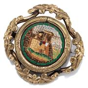Sale 9074 - Lot 380 - AN ANTIQUE MICROMOSAIC BROOCH; 23mm wide Grand tour of Rome mosaic brooch depicting the Temple of Vesta at Tivoli, later set into a...