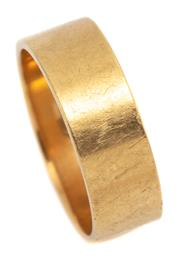 Sale 9074 - Lot 304 - AN 18CT GOLD BAND; 6.2mm wide of plain form, size M, wt. 5.10g.