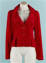 Sale 9071F - Lot 2 - A BRIGHT RED CORDUROY HIPSTER JACKET; with large buttons and floral lining. size XS