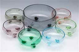 Sale 9098 - Lot 49 - A coloured glass dessert suite Of one large bowl (dia 20cm) and 6 smaller examples (Dia 12cm)