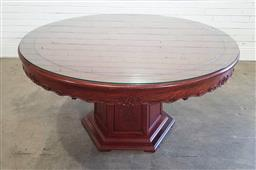 Sale 9188 - Lot 1255 - Chinese rosewood single pedestal round dining table (h:75 x d:155cm0