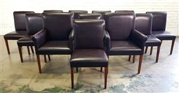 Sale 9210 - Lot 1026 - Set of 12 leather upholstered dining chairs incl. 2 carvers (h:97 w:68 d:45cm)
