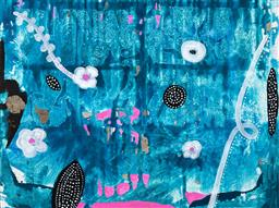 Sale 9256A - Lot 5084 - BELLA KAYE Underwater Flowers, 2021 acrylic on canvas 76 x 102 cm inscribed, dated and titled verso