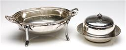 Sale 9253 - Lot 163 - A James Dixon & Son silverplated breakfast egg (W:35cm) together with a Hardy Bros muffin dish (Dia:15cm)