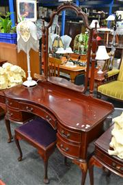 Sale 8156 - Lot 1091 - Timber Mirrored Back Dresser on Cabriole Legs & Upholstered Top Stool