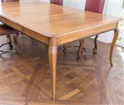Sale 8470H - Lot 155 - A French Provincial style pine extension dining table including two leaves, aproned with saw tooth design, on cabriole legs, H 78 x...
