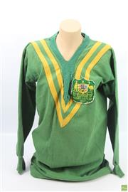 Sale 8618 - Lot 31 - 1933 Badged Rugby League Jersey, accompanied by Christmas greeting card (signed Jim Gibbs) with panoramic photograph of the sixth Au...