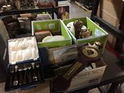 Sale 8659 - Lot 2213 - 3 Boxes of Sundries incl Small Barometer
