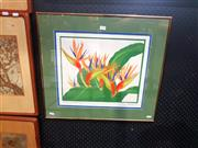 Sale 8695 - Lot 2012 - Artist Unknown - Bird of Paradise Flowers screenprint ed. 1/12, 52 x 58cm (frame) signed lower right