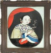 Sale 8995H - Lot 79 - A Chinese reverse painting on glass, framed, frame size 49cm x 40cm
