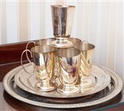 Sale 9058H - Lot 77 - A Group of silver plated tankards and a tray.