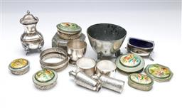 Sale 9098 - Lot 209 - Collection of metal wares incl. silver napkin ring & salt, together with mother of pearl mirrored containers & others