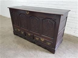 Sale 9142 - Lot 1066 - George III Oak Mule Chest, with four later carved fielded panels, above three short drawers & later shaped plinth base (h:92 x w:160...