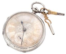 Sale 9140 - Lot 327 - AN ANTIQUE HALLMARKED SILVER OPEN FACE VERGE POCKET WATCH; engraved and guilloche dial, gilt Roman numerals, subsidiary seconds, swi...