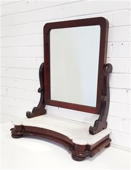 Sale 9162 - Lot 1056 - Victorian Mahogany Toilet Mirror, with shaped supports & Concave base with white marble top (h74 x w60 x d30cm)