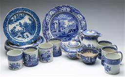 Sale 9164 - Lot 123 - A collection of blue and white dinner and tea wares inc Spode - some damage and wear