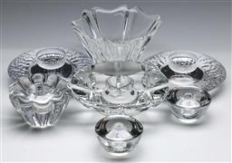 Sale 9173 - Lot 80 - A collection of Orrefors glassware incl. candle-holders and a vase (H: 10cm)