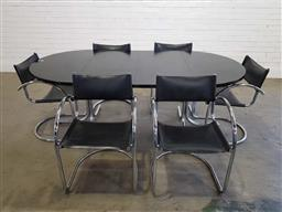 Sale 9188 - Lot 1006 - Early Italian chrome & leather dining setting for six incl. extension dining table with two leaves and six leather sling cantilever...