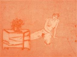 Sale 9216A - Lot 5003 - CLIFTON PUGH (1924 - 1990) Nude in Interior Scene etching and aquatint, ed. 7/25 24.5 x 33 cm (frame: 63 x 76 x 2 cm) signed lower r...