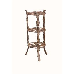Sale 9216S - Lot 100 - A cast iron three tiered plant stand with floral designs, Height 67cm x Width 29cm x Depth 29cm