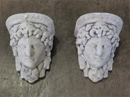 Sale 9255 - Lot 1467 - Pair of facial wall pockets (h:26cm)