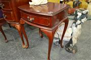 Sale 8156 - Lot 1090 - Pair of Timber Bedsides on Cabriole Legs