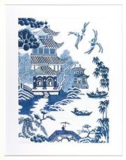 Sale 8342A - Lot 322 - A willow pattern giclee print in white box frame, 93 x 73cm inc. framing