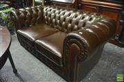 Sale 8345 - Lot 1063 - Brown Buttoned Leather 2 Seater Chesterfield