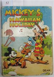 Sale 8431B - Lot 43 - Mickey's Hawaiian Holiday. Walt Disney. Published in London by Dean & Sons, circa late 1930s. Pages 37–67 on Goofy Learning to Surf