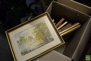 Sale 8458 - Lot 2058 - Box Collection of Assorted Artworks incl. Hand Coloured Bird and Botanical Lithographs, Other Prints and Framed Needleworks