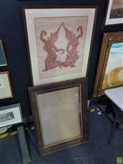 Sale 8619 - Lot 2029 - Framed Thai Rubbing with a Carved Wooden Frame