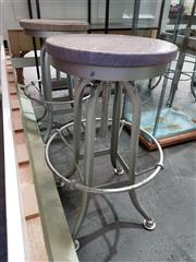 Sale 8782 - Lot 1759 - Set of 4 Recycled Elm Swivel Stools with Zinc Legs