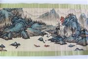 Sale 8909S - Lot 659 - Long Chinese scroll of mountain and river landscape, L352cm