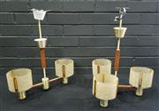 Sale 8984 - Lot 1033 - Pair of Vintage Kempthorne Twin Branch Hanging Light Fittings Together with a Pair of Three Branch Examples (4) (Twin Branch - H:52...