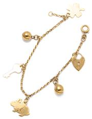 Sale 9037 - Lot 314 - A 9CT GOLD CHARM BRACELET; square anchor link chain attached with 6 charms to a bolt ring clasp, length 14cm, wt. 3.53g.
