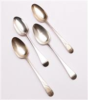 Sale 9027 - Lot 10 - Pair of George III Sterling Silver Soup Spoons hallmarked London, c. 1778, by Thomas Tookey, Together with Two Others (wt.246.7g)